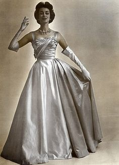 Pierre Balmain 1957 Fashion Photography Guy Arsac, Evening Gown