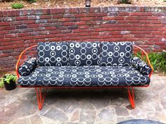 Vintage Homecrest wire patio sofa, powder coated orange. Cushions cut, and covers made by me.