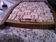 tray made from wine barrel staves and corks