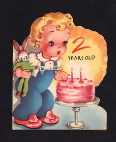 Vintage 2nd birthday card for girl