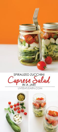 This healthy Spiralized Zucchini Caprese Salad in a Jar recipe is a quick and easy lunch on-the-go! With fresh pesto sauce, cherry tomatoes, mini mozzarella, basil, and low carb zucchini noodles, this vegetarian mobile meal is so delicious fills you up! // Live Eat Learn #PayPalIt #CG @PayPal