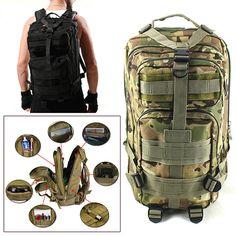 2016 Men Women Outdoor Military Army Tactical Backpack Trekking Sport Travel Rucksacks Camping Hiking Trekking Camouflage Bag // FREE Worldwide Shipping! //     #hashtag4