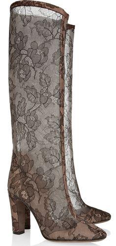 Valentino Lace-Appliquéd Mesh Knee Boots