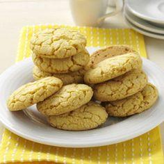 Lemon Crisp Cookies Recipe A lemon cake mix, Rice crispies, butter & a egg then bake so easy :)