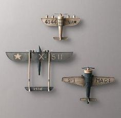 Vintage Model Airplane wall decor for nursery RH baby&child by sophia