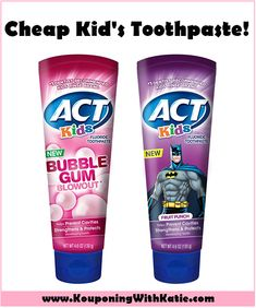 You can ALWAYS find great free/money maker deals on toothpaste, but KID'S toothpaste deals don't come around that often. Kids Toothpaste, Baby Bathroom, How To Prevent Cavities, Fruit Punch, Diy Planters, Kids Branding, Bubble Gum, Travel Size Products, Free Money