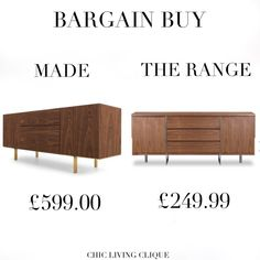 Bargain Buy: Walnut Sideboard – Chic Living Clique Walnut Sideboard, Cabinet, Chic, Storage, Stuff To Buy, Furniture, Home Decor, Clothes Stand, Shabby Chic