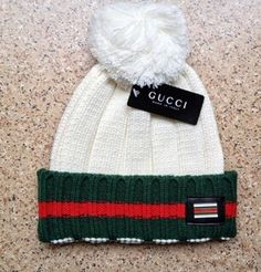 Gucci Knit Wool Web Hat (White) d86b6360cf80