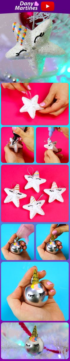 Faça você mesmo enfeites de natal para a árvore com o tema unicornio, são estrelinhas e bolinhas que ficam lindas na decoração, unicorn, christmas decor, Dany Martines, DIY, Do it yourself