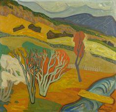 Egil Weiglin (1917-1997): Fra Heidal, 1941 Painters, Norman, Denmark, Landscape Paintings, Scandinavian, Artists, Drawings, Brown, Gold