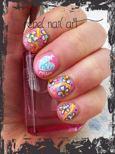Mothers Day nail art by Rebel Nail Art, via Flickr check out www.ThePolishObsessed.com for more nail art ideas.