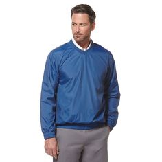 Men's Grand Slam Classic-Fit Performance Wind Pullover, Size: Small, Med Blue