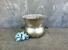 Rustic Wedding Card Holder - Country Decor - Rustic Home Decor - Vintage Brass Vase - Spittoon - Urn on Etsy, $19.95