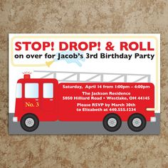 Firetruck Invitation - Fireman Invitation - Firefighter Invite - Boy Birthday Invitation - Birthday Invitation - DIY Printable Invitation. $18.00, via Etsy.