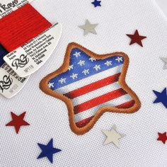 Needlepoint flag cookie star from Burnett & Bradley Needlepoint Designs, Needlepoint Stitches, Needlepoint Canvases, Needlework, Hand Painted Canvas, Veterans Day, Cross Stitch Patterns, Christmas Stockings, Cookie