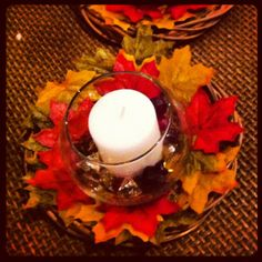 Dollar Tree Craft: wreath, candle holder, candle, leaves, decor jewels
