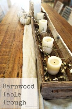 woodworking table centerpiece fall decor trough, diy, home decor, rustic furniture Barn Wood Crafts, Barn Wood Projects, Do It Yourself Furniture, Diy Furniture, Rustic Furniture, Table Centerpieces, Table Decorations, Thanksgiving Decorations, Country Decor