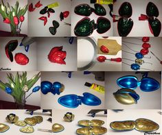 Istruzione per i tulipani con le cialde da tè Nespresso, Capsule, Hanukkah, Wreaths, Flowers, Ears, Boucle D'oreille, Hands, Locs