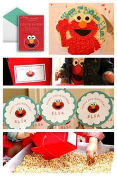 """Elmo birthday party ideas! Favorite activity: """"Big Bird's Seed Search."""" Fill a container with bird seed and toys from the dollar store, and provide regular sandbox toys/shovels to dig through the seeds and search for prizes!"""