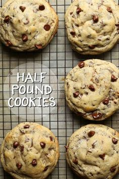 May 12, 2020 - Half Pound Cookies are a full half pound chocolate chip cookie recipe! These are a perfect special treat to share, or a great bake sale cookie!