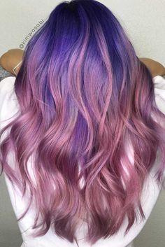 Amazing Blue and Purple Hair ❤ Trendiest Purple And Blue Hair Styles Hair Color Purple, Hair Dye Colors, Purple Ombre, Cool Hair Color, Pink Hair, Purple Makeup, Ombre Hair, Glam Look, Dip Dyed Hair