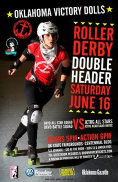 A unique event will be taking place in the Centennial Building this weekend – a roller derby double header!  The Oklahoma Victory Dolls roller derby squads will take on the ICT Roller Girls on Saturday, June 16, 2012.  Doors open at 5:00 p.m. and the action starts at 6:00 p.m.  Come check out the fast-paced entertainment as the girls race around the track.  Tickets are $13 in advance, $15 at the door and kids 12 and under get in free.  www.okstatefair.com
