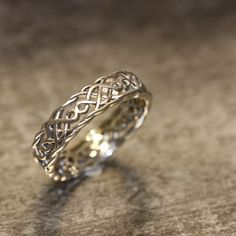 14k White Gold Celtic Wedding Band Unique Wedding by LaMoreDesign, $685.00