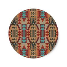 Rustic Native American Indian Cabin Mosaic Pattern Classic Round Sticker - ranch gifts style nature home diy