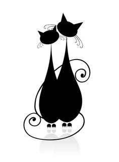 Chats en noir et blanc