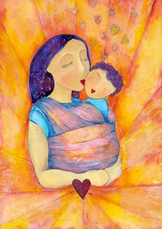 You are my heart    Mixed Media painting  baby wearing wrap mama mother hearts. £12.00, via Etsy.