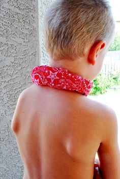 Neck chilling scarf (uses ice cubes wrapped in fabric). How timely!