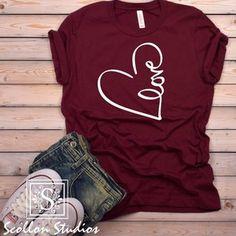 Valentine Shirts, Valentine Gifts For Girlfriend, Love Shirt, Heart Shirt, Diy Shirt, Cute Tshirts, Mom Shirts, T Shirts For Women, Valentinstag Shirts