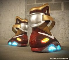 """Mache is at it again with the Nike Air Mag """"Iron Mag"""" Custom. Stay informed on the latest release sneaker information with Nice Kicks. Nike Air Mag, Custom Sneakers, Custom Shoes, Sneakers Nike, Nike Shoes Cheap, Nike Free Shoes, Cheap Nike, Nike Free Runs, Nike Running"""