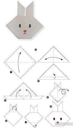 Schritt für Schritt anschaulich erklärt: So falten Sie ein Hasengesicht #diy #Ostern #Origami