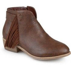 Brinley Co. Womens Faux Leather Stacked Heel Fringe Ankle Boots, Women's, Size: 8.5, Brown