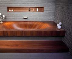 wooden bath tub
