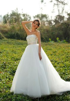 This is a very good wedding dress website. You can input your custom measurements and they'll tailor a dress for you.