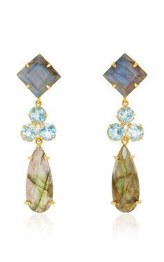 Convertible Labradorite and Blue Quartz Earrings by Bounkit for Preorder on Moda Operandi