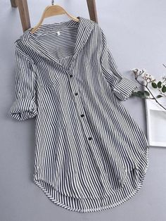 Striped Long Sleeve Shirt, Long Sleeve Shirts, Stylish Dresses For Girls, Loose Shirts, Blouse Styles, Casual Fall, Shirt Blouses, Blouses For Women, Colorful Shirts