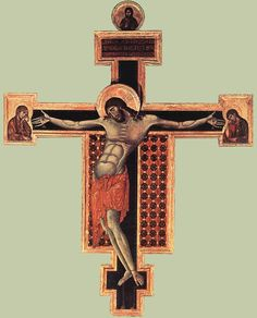Crucifix, Cimabue c 1268-71. San Domenico, Arezzo. The earliest of the three crucifixes attributed to Cimabue
