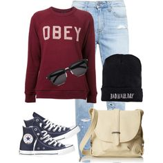 Sin título #307 by silvana-loli-olivas on Polyvore featuring moda, OBEY Clothing, Paige Denim, Converse, Roxy, Yves Saint Laurent and Boohoo