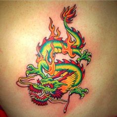 Elegant Chinese Dragon Tattoo - bright colors!