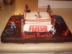 My son's WWE wrestling birthday cake.