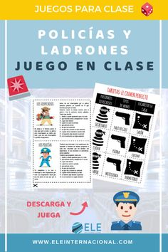 Juego para clase de idiomas Policías y Ladrones. Spanish Games, English Games, Spanish Words, English Class, English Lessons, Learning Spanish, Breakout Edu, Geronimo Stilton, Vocabulary Games