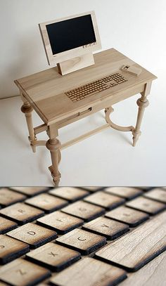 Stunning wooden computer by designer Marlies Romberg that is embedded directly into a desk.
