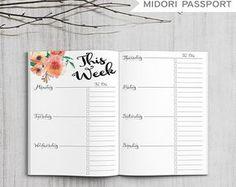 Printable Bullet Journal Weekly Planner, Printable Midori Passport Inserts, Printable Midori Traveler's Notebook Weekly inserts, PDF file