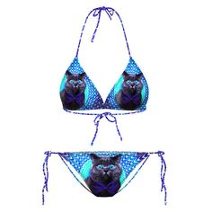 Psychedelic Trippy Kitty Cat Face All Over Print Triangle Bikini Set | Gifts for Cat Lovers