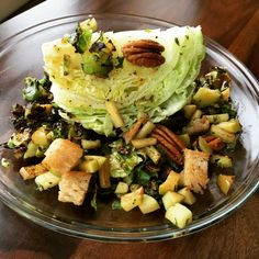 Winter Wedge Salad with Apple Pecan Panzanella and Maple Vinaigrette Dressing