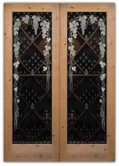 Vineyard Grapes 3D Trellis Pair Glass Doors