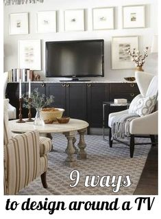 9 Ways to Design Around a TV. I love the colorful boxes underneath the white tv stand and the striped rug...I also love the colorful picture frames in one photo